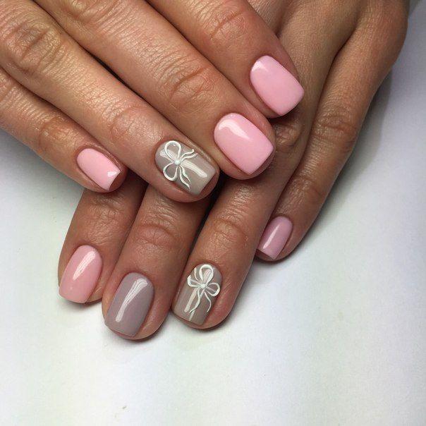маникюр фото розовый с серым