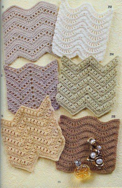 Разнообразные зигзаги крючком для летних нарядов.