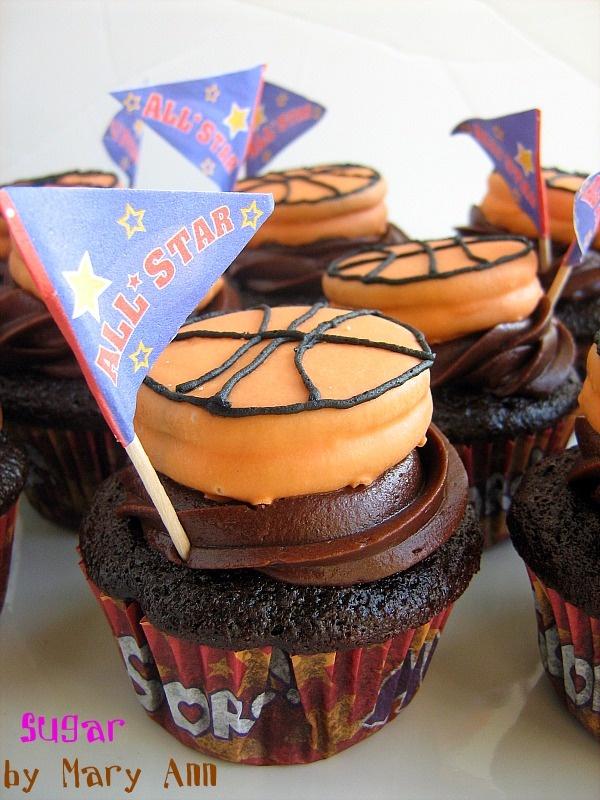 Chocolate covered oreos to look like basketballs, cute!
