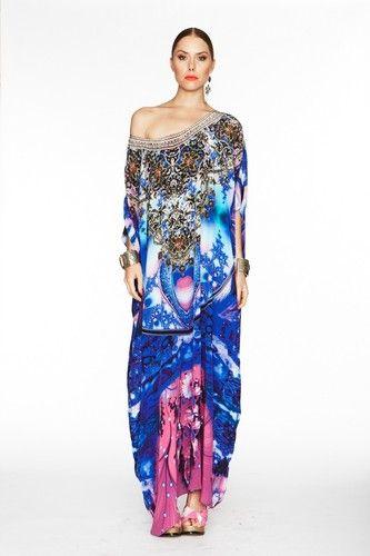 As New Camilla Franks Silk Round Neck Utopia Swarovski Kaftan Dress OSFM | eBay