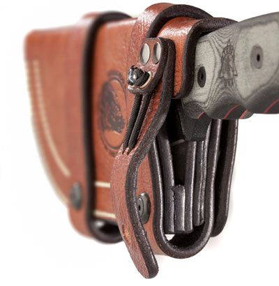 With a function first, no-frills philosophy, the Hedgehog Leatherworks Sheath for the Tops Tom Brown Tracker offers top-notch leather construction in a product designed to be as tough as the knife it carries.