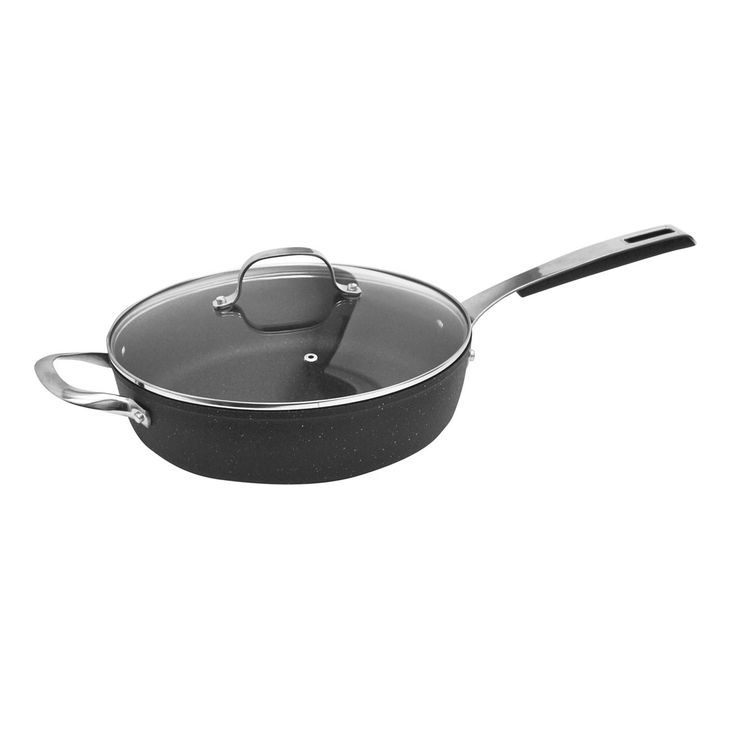 "Starfrit The Rock - 4.1qt / 11"" (28cm) Forged Aluminum Non-Stick Deep Fry Pan with Lid www.starfrit.com"