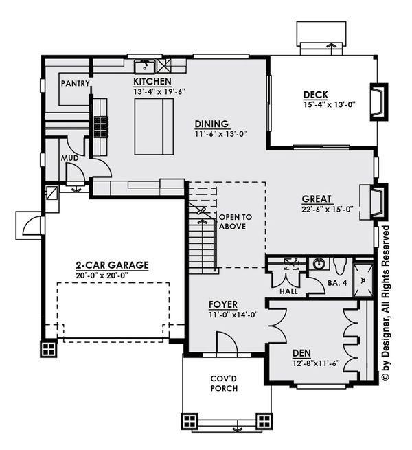 Modern Style House Plan 4 Beds 4 Baths 3257 Sq Ft Plan 1066 9 House Plans Floor Plan Design Modern Style House Plans