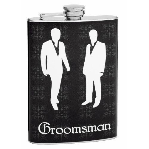 8oz Flask for Groomsmen, Free Personalization by Flasks.com. $17.95. Simply send an email to us after ordering letting us know the names you want on the flasks.. 8oz Stainless Steel Flask with High Quality Wrap Around. Designed by Flasks.com, A leader in Hip Flask Development. 100% Free Personalization - Add Groomsmen Names. This is a Unique, High Quality Groomsman Gift. This 8oz flask is a great groomsman gift.  We can personalize this flask with a name, date or other t...
