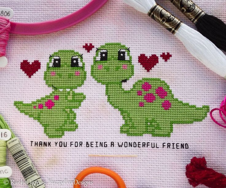 Dinosaur Friends Cross Stitch Pattern PDF | T-Rex & Brontosaurus Cross Stitch | Easy Modern Beginners Counted Cross Stitch Instant Download