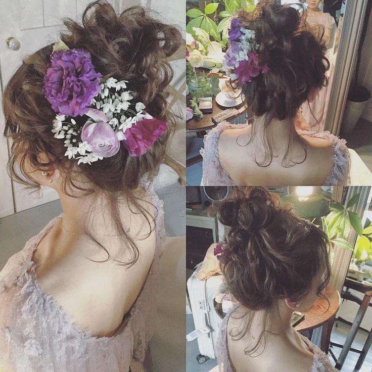 前からは花嫁様の要望もありますのでお見せできませんが横と後ろです☺️ ブライダルのご依頼は本当お早めにお願い致します 埋まってしまいますのでお断りされてる方が最近多いのでお願い致します #ブライダル #ウェディング #ウェディングドレス  #新婦様  #プレ花嫁