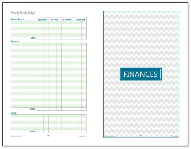 Half- Size Monthly Family Budget Printables - page 2