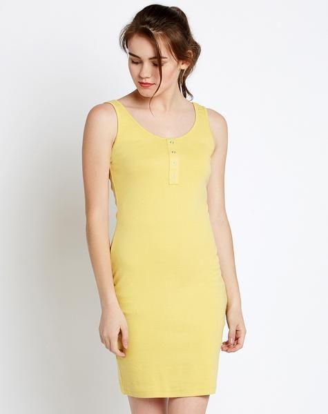 Buy now the latest #YellowBodyconDress #DesignerSleevelessRoundNeckDress available at ladyindia.com http://bit.ly/2wL7Nun