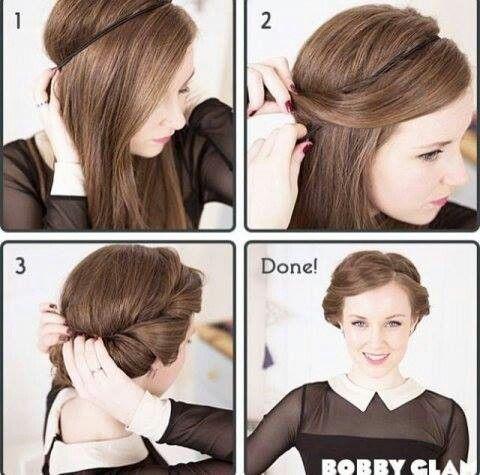 chaotischer Haarknoten mit lockeren Strähnchen   Idee zum Nachmachen
