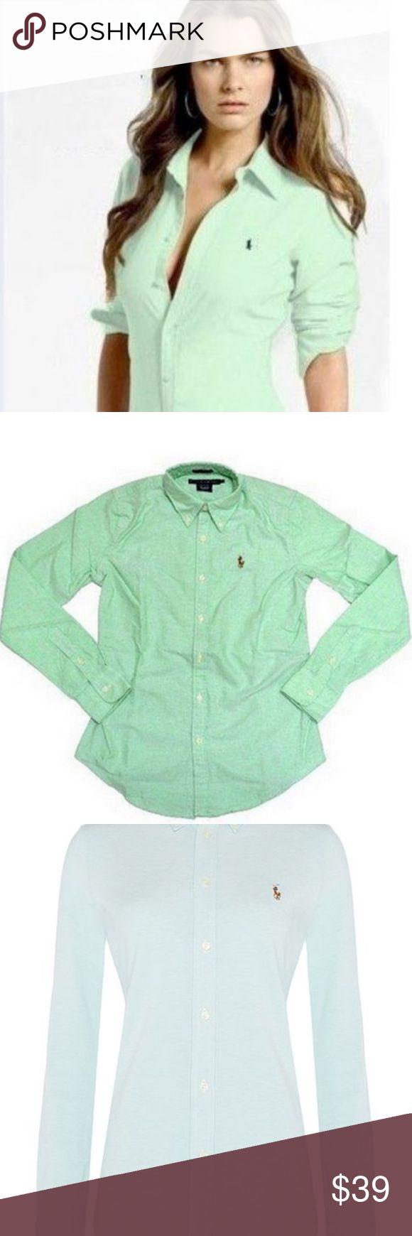 Ralph Lauren Green Slim Oxford Womens Ralph Lauren. Light green. Knit cotton Oxford. Button down. Polo emblem.  Size 0. Slim fit. Excellent condition - no signs of wear. Ralph Lauren Tops Button Down Shirts