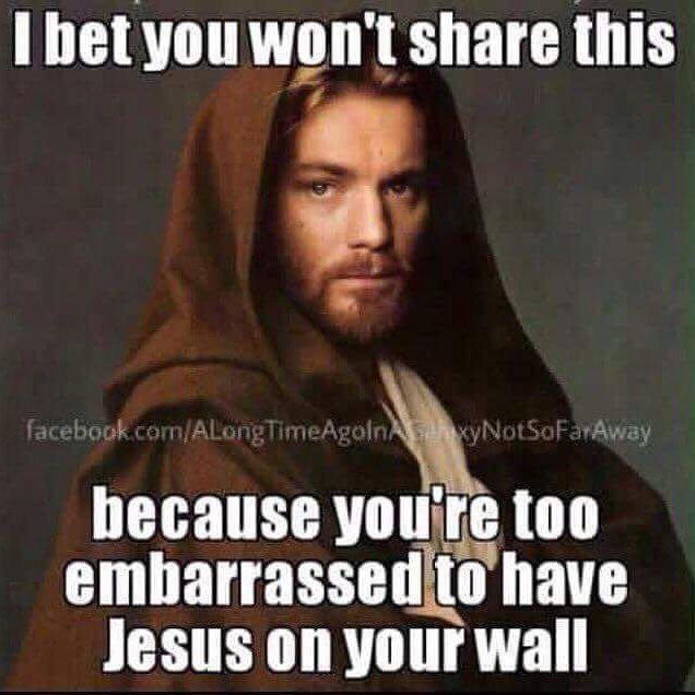 I'm not embarrassed to have a picture of Jesus. It's kind of like either having a picture of a fictional character or a really really old ancestor or someone important depending on what you believe.