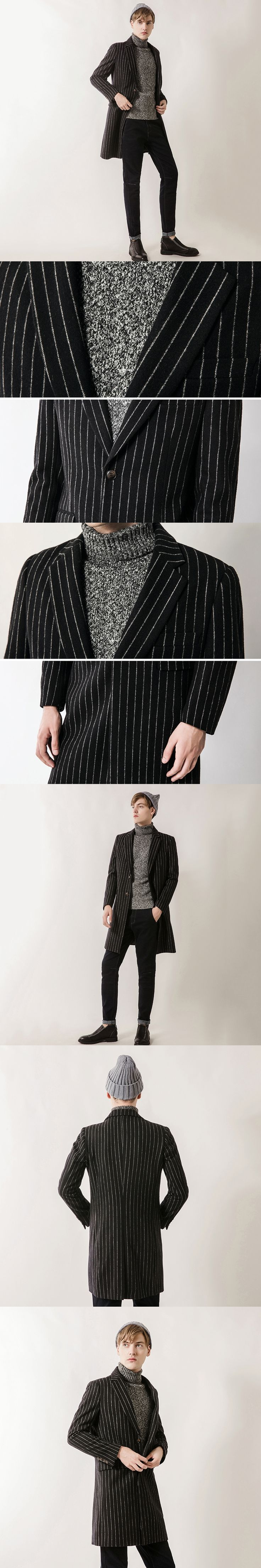 2017 Autumn Fashion Business Men Blend Wool Jacket Striped Long Trench Coat Turn-down Collar Leisure Tops Quality Veste Homme