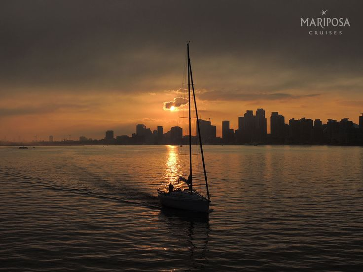A sailboat sails by on the Toronto harbour during sunset.