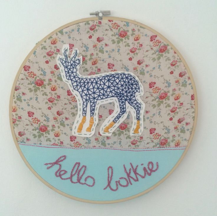 Hello Bokkie. Embroidery on paper and fabric.