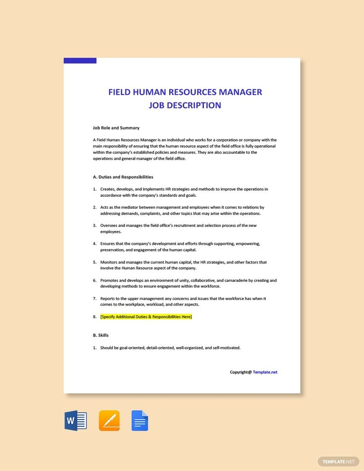 Free Field Human Resources Manager Job Description