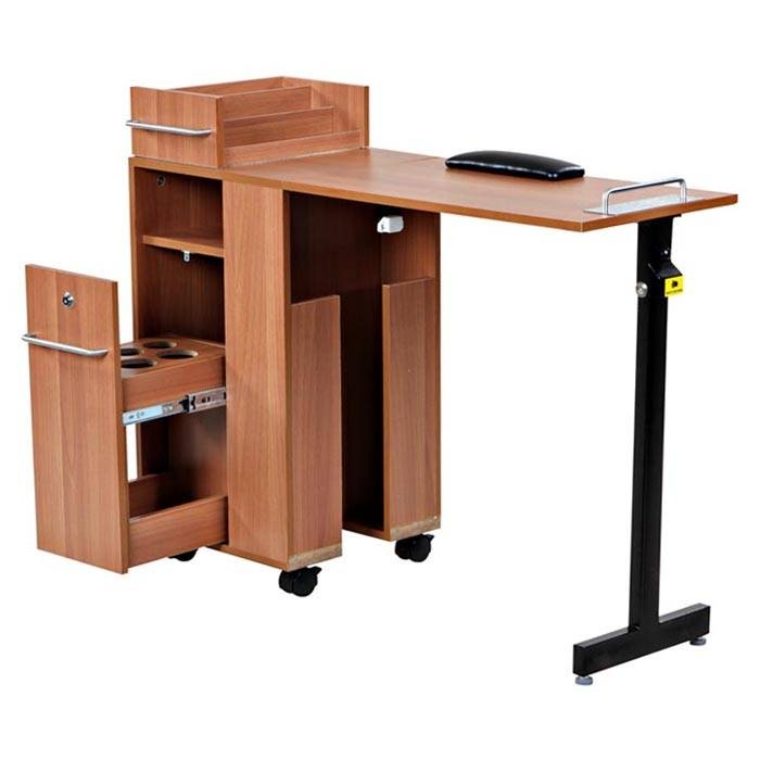 Exceptional pearwood manicure station angle salon guys for Folding nail technician table