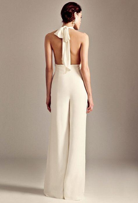 jumpsuit hochzeit ruckenfrei elegant schleife nacken binden hochsteckfrisur weit design dayyouandme in 2018 pinterest wedding dresses