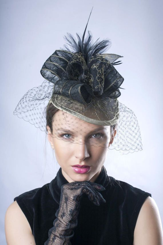 Golden derby headpiece, suitable for Kentucky derby and Royal Ascot made by Irina Sardareva Couture Millinery