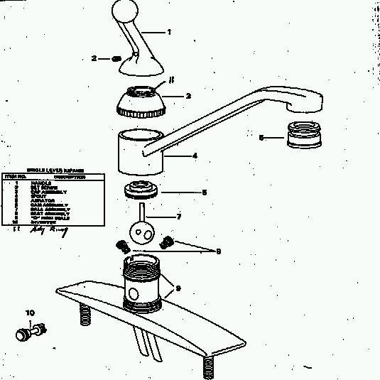single lever faucet cutaway diagram