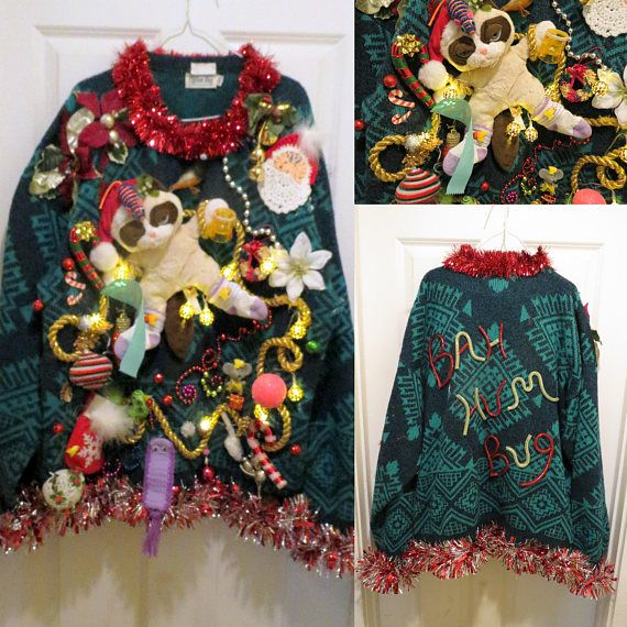 Ugly Christmas Sweater Cat Light Up 80