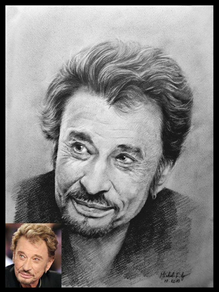 Dessin portrait Johnny Hallyday