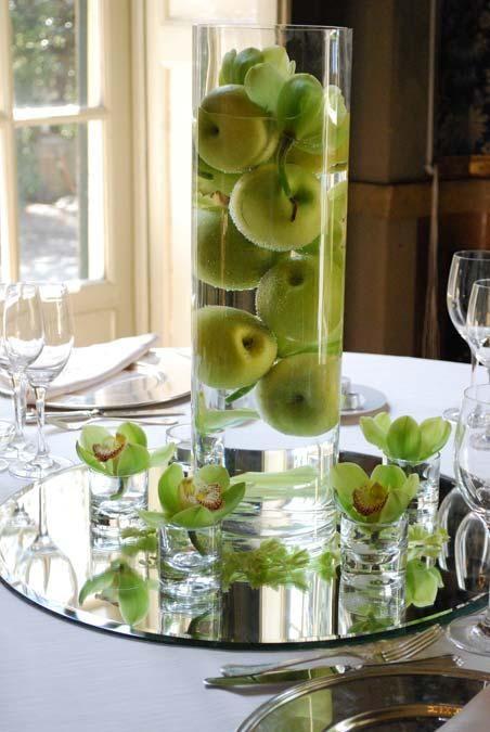 Centrotavola di mele verdi, originale ed elegante