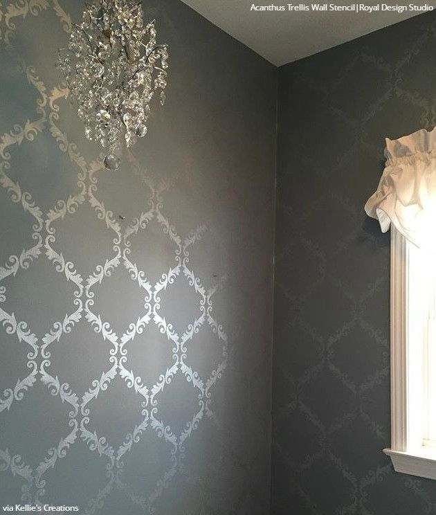 The Acanthus Trellis Damask Stencil is most of our most popular stencil designs because it is the perfect pattern for any DIY wall decor for painting floors. Paint this elegant stencil allover for a c