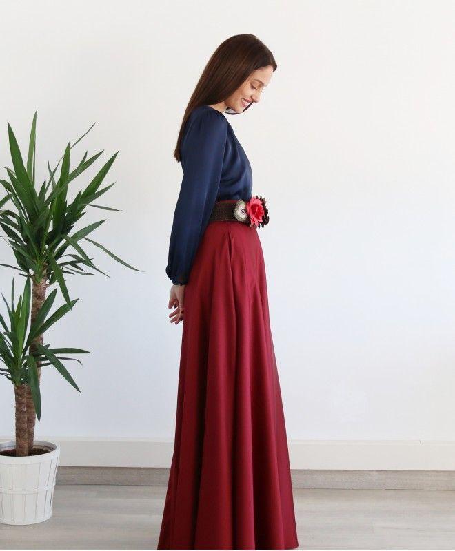 falda larga en crepe raso para boda y eventos confeccionada en España