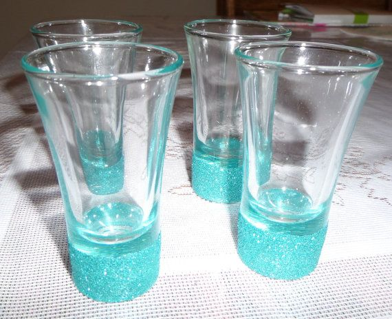 Hey, I found this really awesome Etsy listing at https://www.etsy.com/listing/178591246/glitter-shot-glass-tiffany-co-blue-3oz