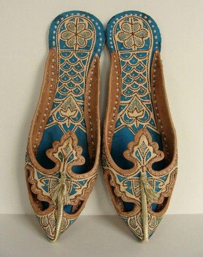 Calzature Tradizionali Indiane Persian Genie HAREM Shoes SLIPPERS 8 8.5 9 39 Arabian Ornate Leather Otoman