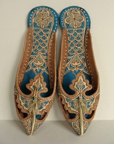 Calzature Tradizionali Indiane Persian Genie HAREM Shoes SLIPPERS 8 8.5 9 39 Arabian Ornate Leather Otoman