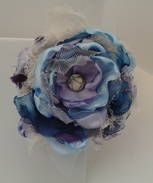 Sky Blue, Cream & Lilac Flower Hair Clip £10.00