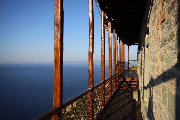 Athos - Monastery of Simonos Petras on the balcony after sunrise