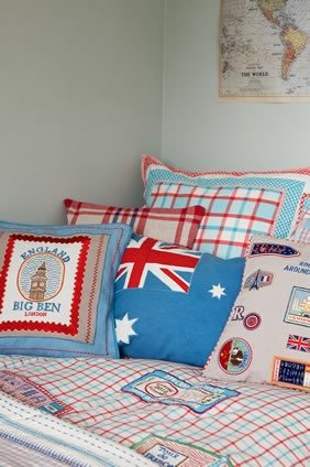 Pillow with patches on it from places you've travelled!