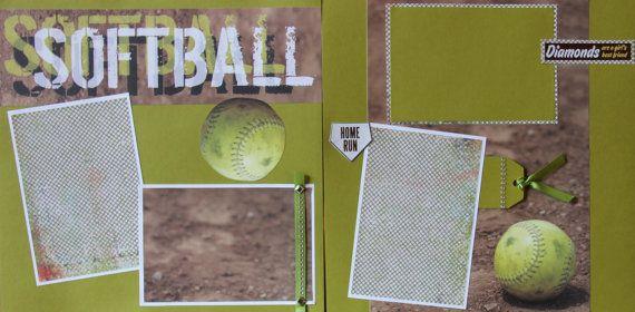 Travel scrapbook embellishments | Softball Scrapbook Pages and Bookmark 12x12 Premade Scrapbooking Girls ...