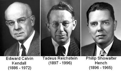 "Nobel Laureates 1950: Edward Kendall, Tadeus Reichstein and Philip Hench for their discoveries relating to the hormones of the adrenal cortex, their structure and biological effects""."