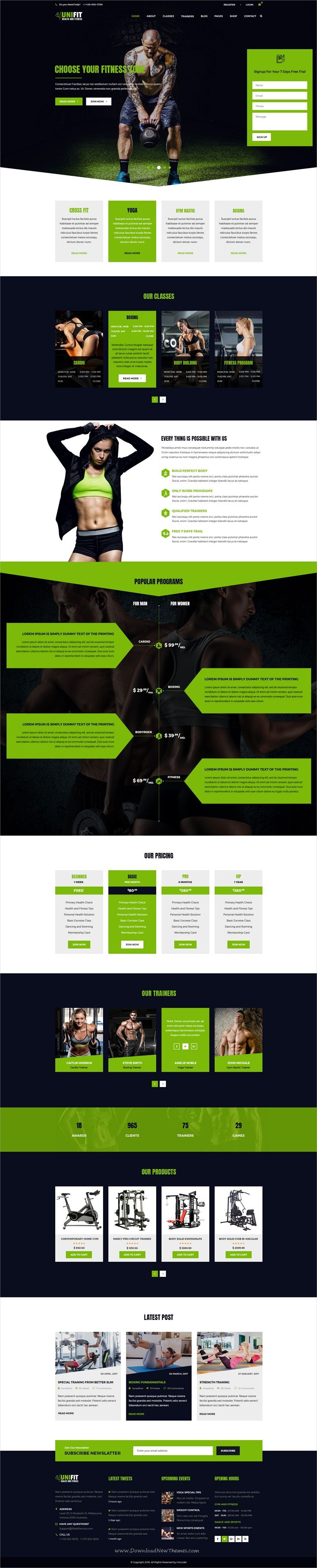 UniFit is clean and modern design PSD #template for #gym and #fitness centers website with 18+ layered PSD files download now..