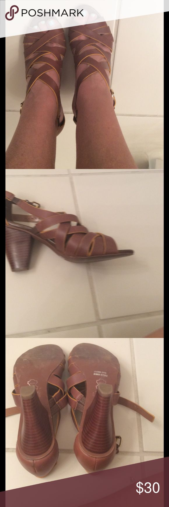 Loft sandal with heel Cute brown leather Loft sandals with 7 inch heel. Worn once excellent condition. LOFT Shoes Sandals