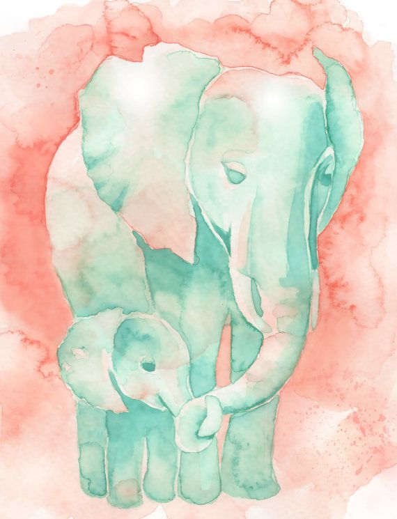 Mom and Baby Elephant watercolor print by Katrina Pete. This would make a great gift for a baby shower or elephant themed nursery. Available