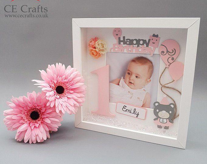 Personalised Initial Gift Frame Boys Girls Baby 1st Birthday Handmade