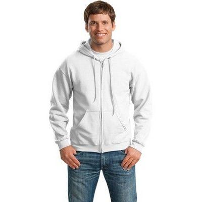 Full Zip Hooded Sweatshirt White (Unisex) Min 25 - An overlapped fabric across zipper unlined hood sweatshirt that allows full chest printing and an air jet yarn that feels softer and no pilling. #Hoodies #Sweatshirt #PromotionalProducts #LadiesHoodie #KidsHoodie #MensHoodie