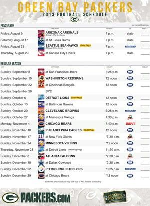 Green Bay Packers 2013-2014 football schedule