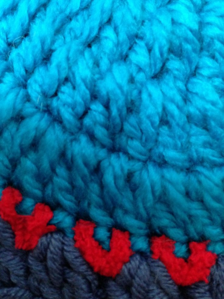 ...in my sister's lovely crochet stitches.