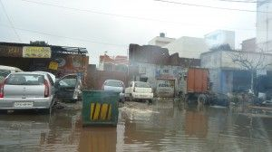CJ Roy sent this picture of a submerged street in Meerut.