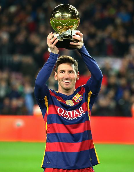Leo Messi with the Golden Ball before the match between FC Barcelona and…