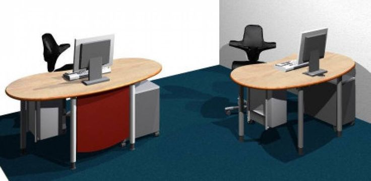 Schreibtische - infinity design e-style - Platzsparende kostengünstige Bildschirmarbeitsplätze e-style Schreibtische 168cm als Bildschirmarbeitsplätze mit Kabeldurchführung, klappbarer Uni-Kabelkanal und CPU-Halter jeweils rechts am Tisch montiert  Mit Bürocontainer in Schmalversion (Tisch links unten) oder Standardgröße (Tisch rechts unten).  Der Tischfuß setzt auf dem Container auf. Mittels eines auf dem Container frei montierbaren Drehbolzen wird ein gekürzter Fuß mit Höhenversteller…