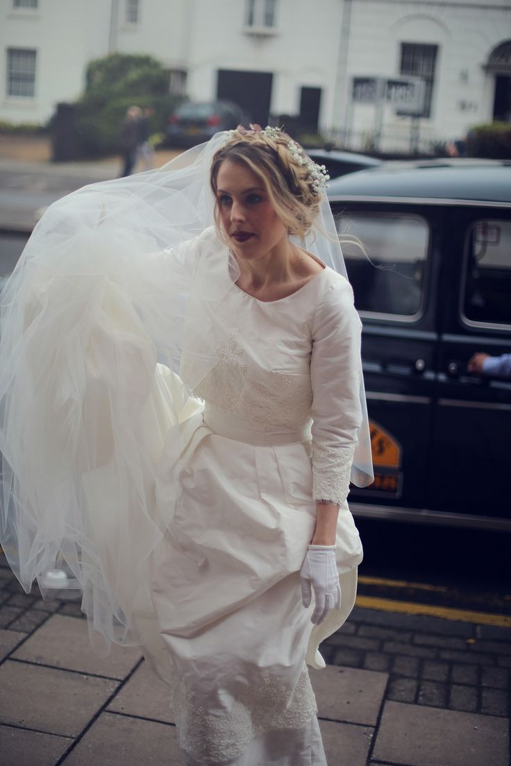 Little White Gloves and Flowers in her Hair for a 1960's Brooklyn Factory Inspired Wedding | Love My Dress® UK Wedding Blog