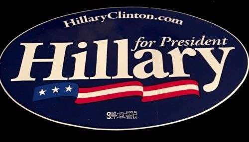 Hillary Clinton: Hillary Clinton Oval Bumper Sticker 10 For $5 BUY IT NOW ONLY: $5.0