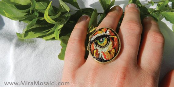 eye of the tiger   The ring was created on the basis of brass, hand-assembled by welding  It takes the eye of a tiger with the technique of micro mosaic.  adjustable