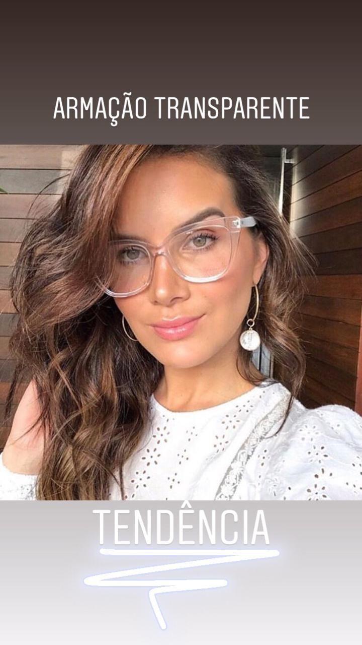 Oculos Armacao De Grau Gatinho Transparente Em Acetato Resistente